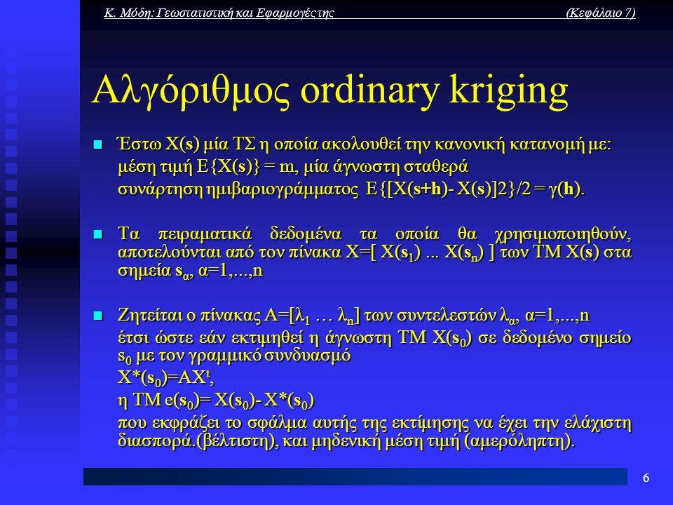 Αλγόριθμος ordinary kriging