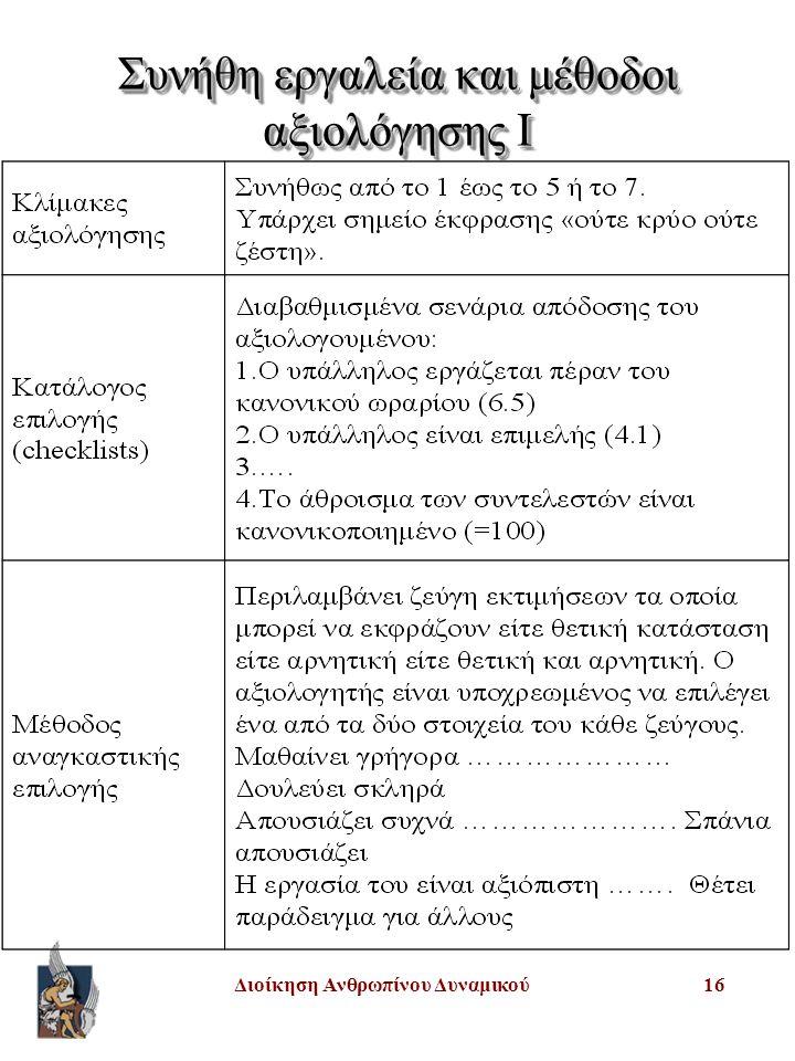 Συνήθη εργαλεία και μέθοδοι αξιολόγησης I