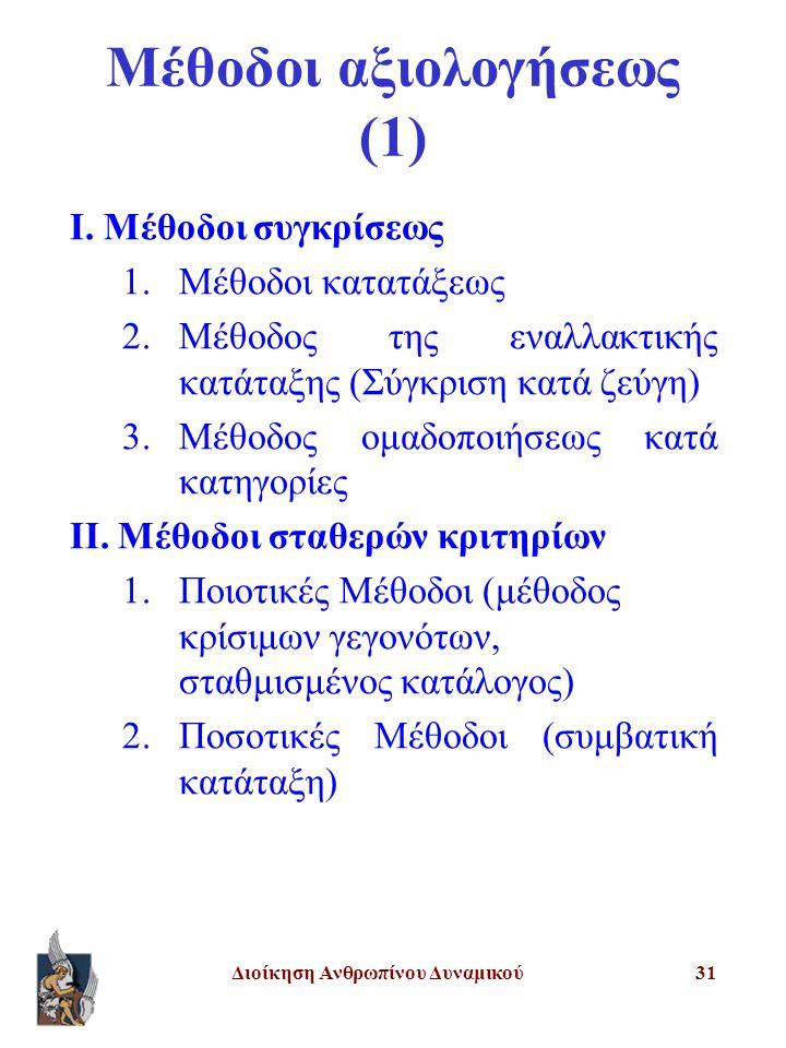 Μέθοδοι αξιολογήσεως (1)
