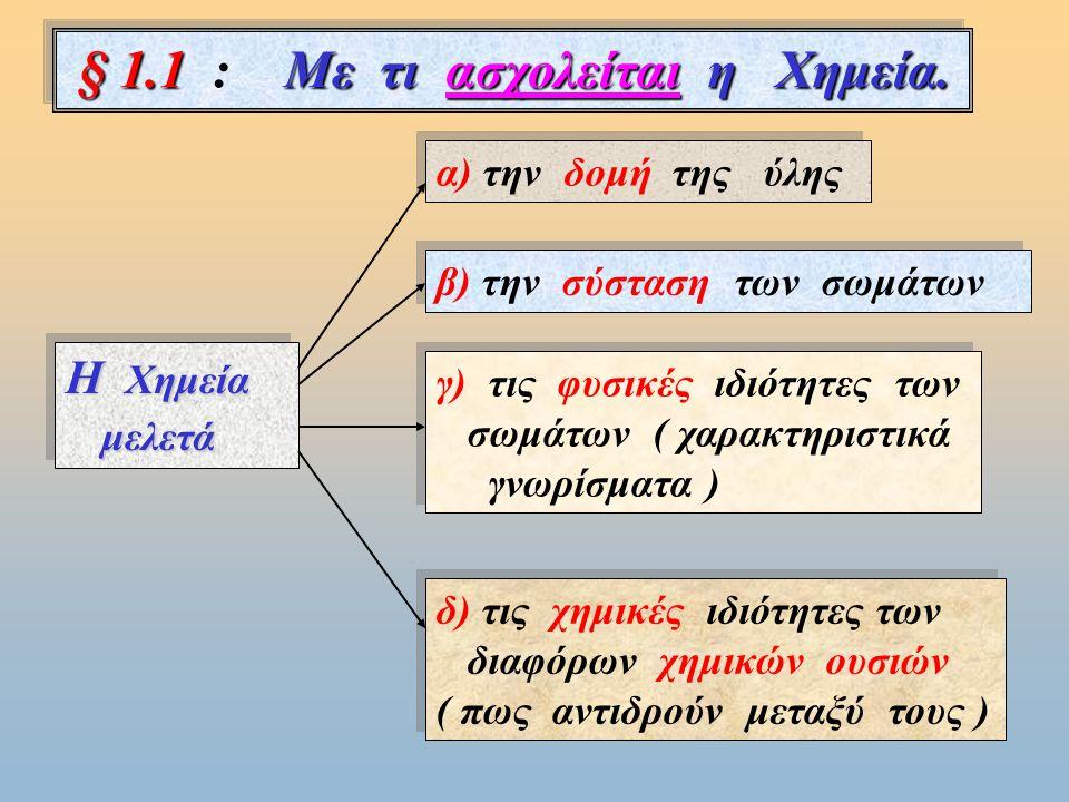 § 1.1 : Με τι ασχολείται η Χημεία.