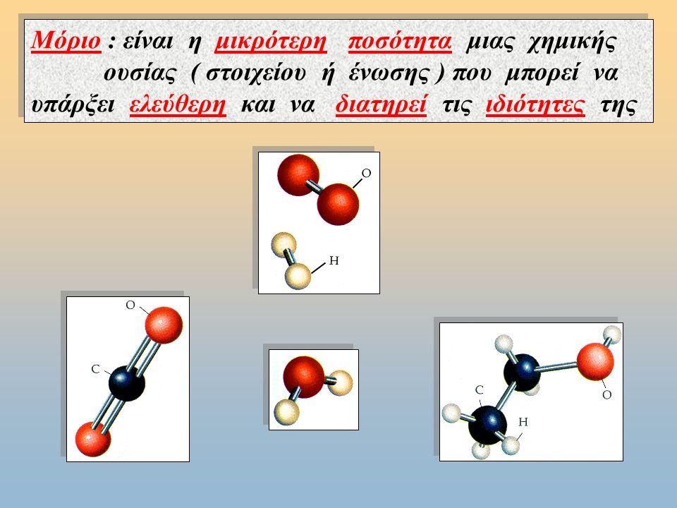 Μόριο : είναι η μικρότερη ποσότητα μιας χημικής