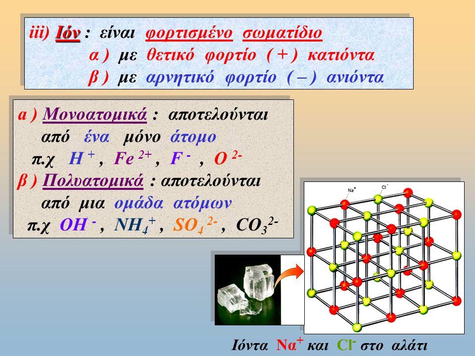 iii) Ιόν : είναι φορτισμένo σωματίδιo