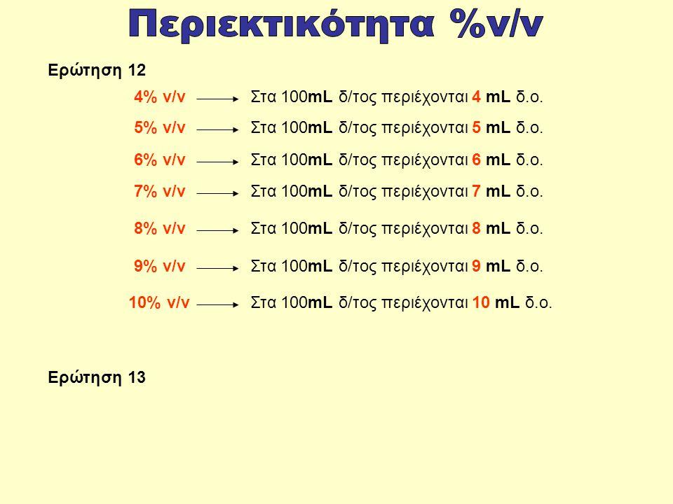 Περιεκτικότητα %v/v Ερώτηση 12 4% v/v