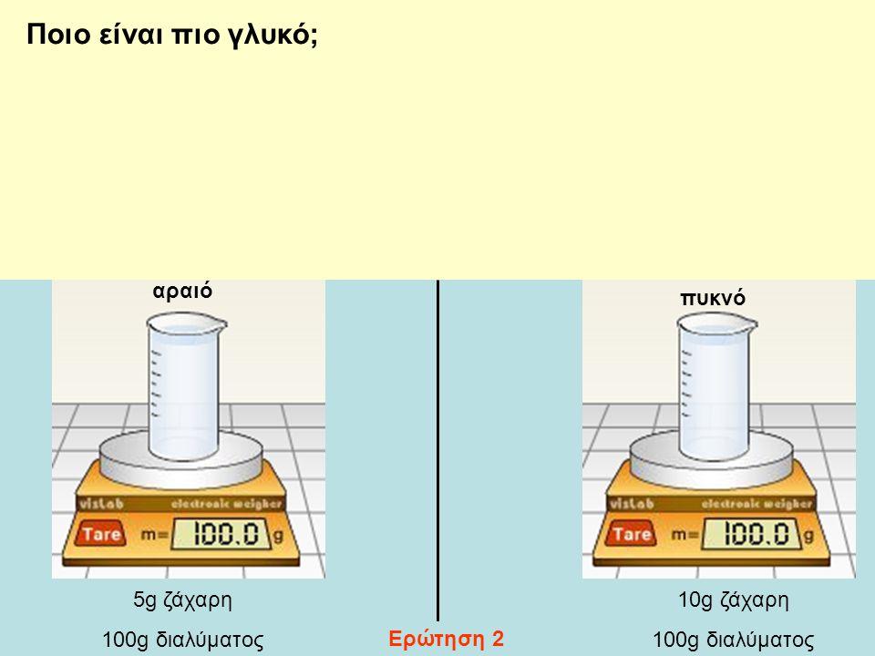 Ποιο είναι πιο γλυκό; αραιό πυκνό 5g ζάχαρη 100g διαλύματος 10g ζάχαρη