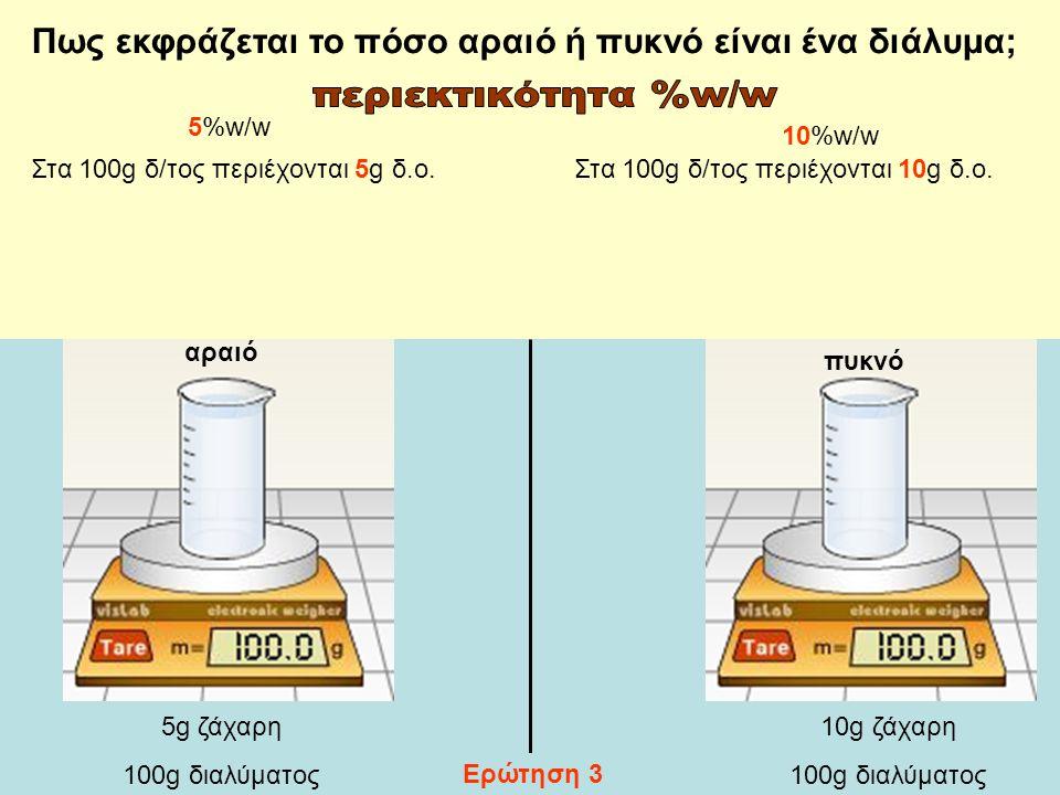 Πως εκφράζεται το πόσο αραιό ή πυκνό είναι ένα διάλυμα;