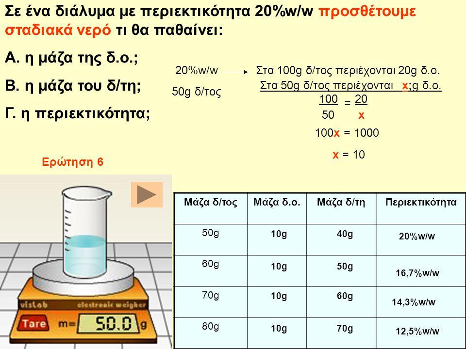 Σε ένα διάλυμα με περιεκτικότητα 20%w/w προσθέτουμε σταδιακά νερό τι θα παθαίνει:
