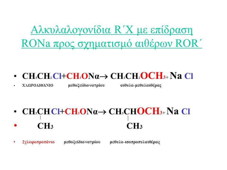 Αλκυλαλογονίδια R΄Χ με επίδραση RONa προς σχηματισμό αιθέρων ROR΄