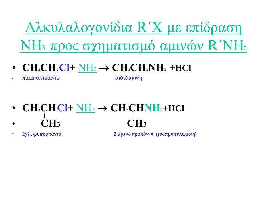 Αλκυλαλογονίδια R΄Χ με επίδραση ΝΗ3 προς σχηματισμό αμινών R΄NH2
