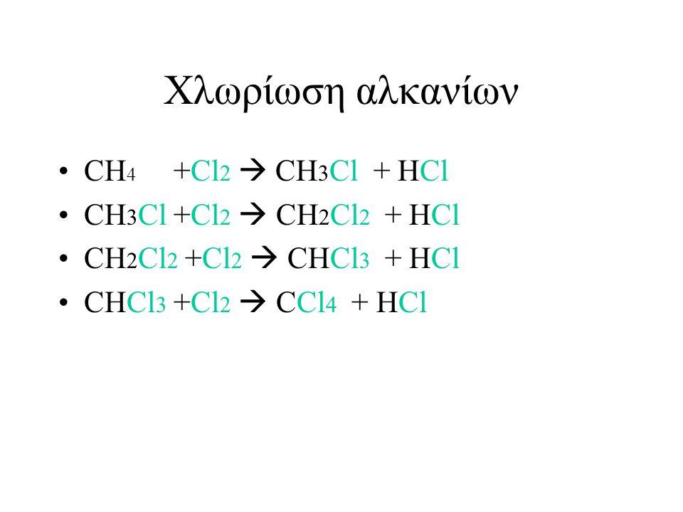 Xλωρίωση αλκανίων CH4 +Cl2  CH3Cl + HCl CH3Cl +Cl2  CH2Cl2 + HCl