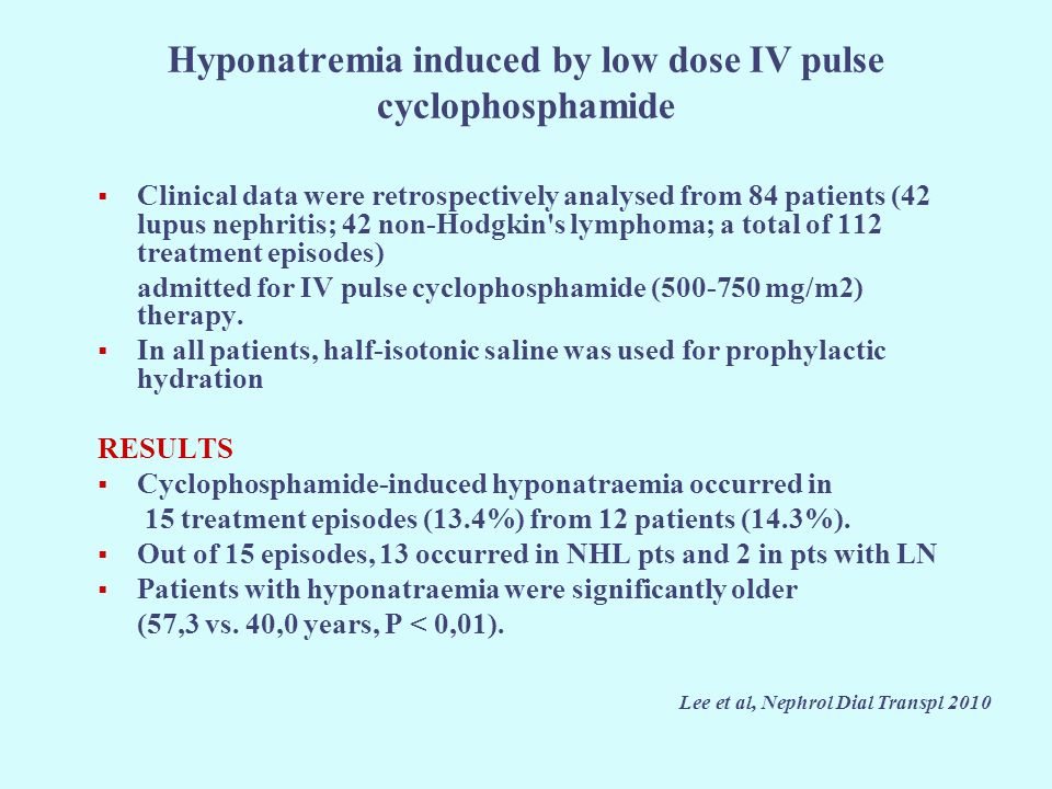 Hyponatremia induced by low dose IV pulse cyclophosphamide