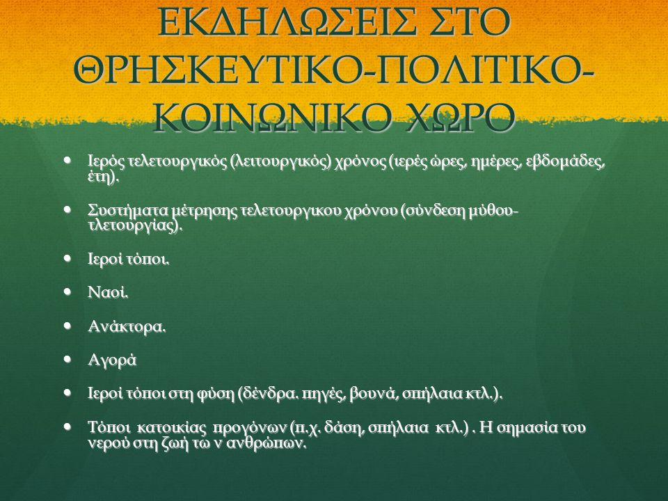 ΕΚΔΗΛΩΣΕΙΣ ΣΤΟ ΘΡΗΣΚΕΥΤΙΚΟ-ΠΟΛΙΤΙΚΟ-ΚΟΙΝΩΝΙΚΟ ΧΩΡΟ