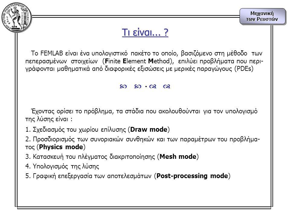 Τι είναι... To FEMLAB είναι ένα υπολογιστικό πακέτο το οποίο, βασιζόμενο στη μέθοδο των.