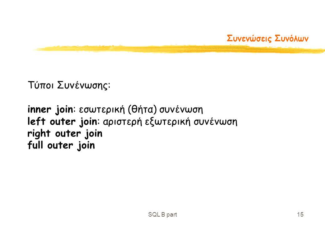 inner join: εσωτερική (θήτα) συνένωση