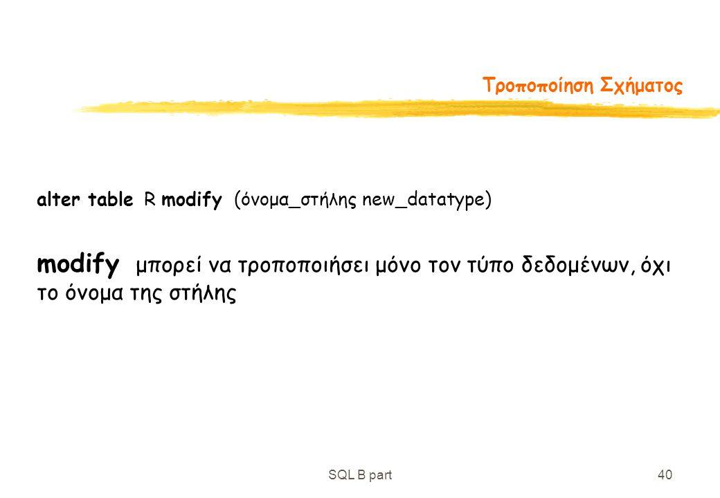 Τροποποίηση Σχήματος alter table R modify (όνομα_στήλης new_datatype)