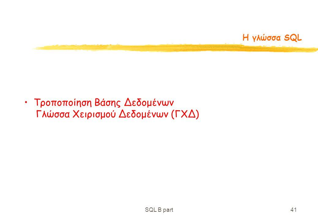 Τροποποίηση Βάσης Δεδομένων Γλώσσα Χειρισμού Δεδομένων (ΓXΔ)