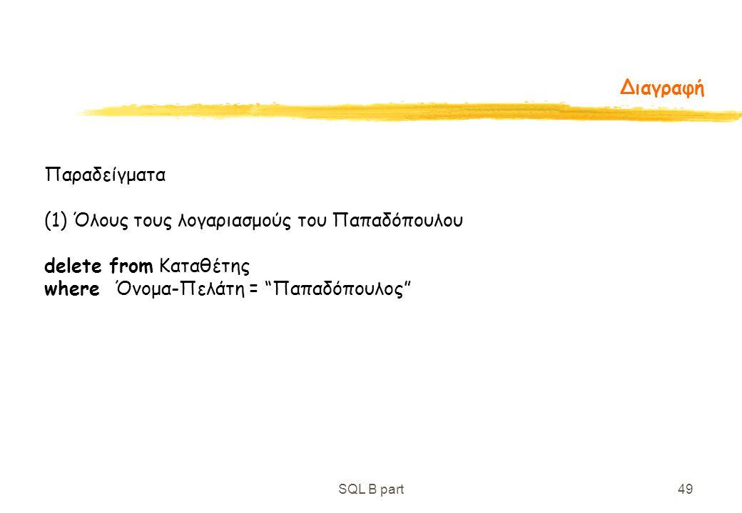 (1) Όλους τους λογαριασμούς του Παπαδόπουλου delete from Καταθέτης