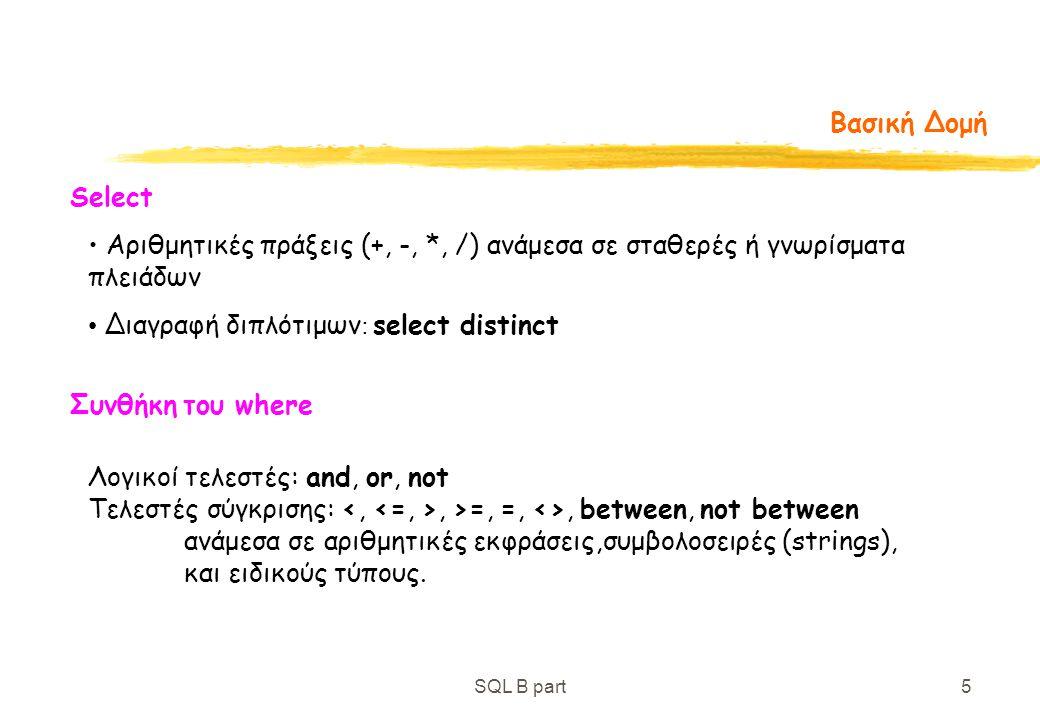 Διαγραφή διπλότιμων: select distinct
