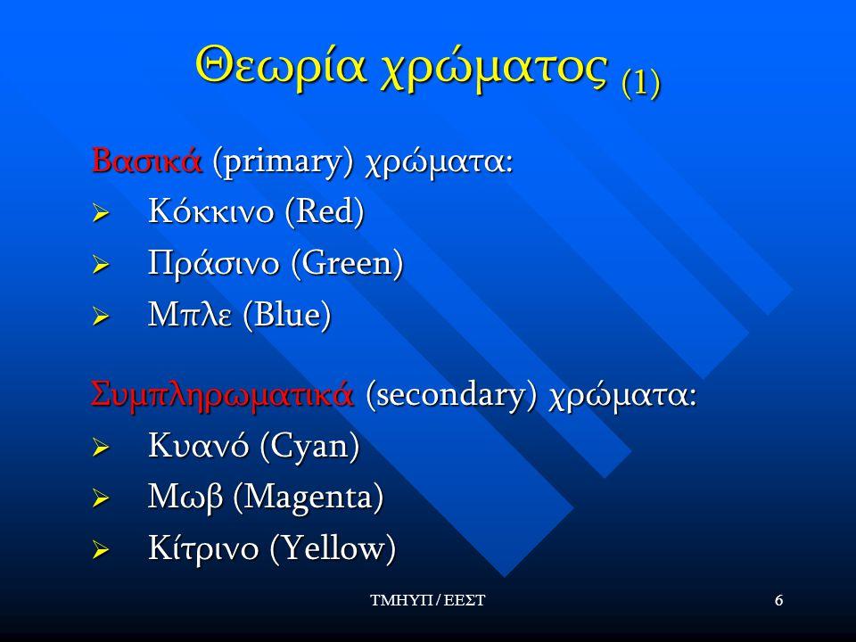Θεωρία χρώματος (1) Βασικά (primary) χρώματα: Κόκκινο (Red)