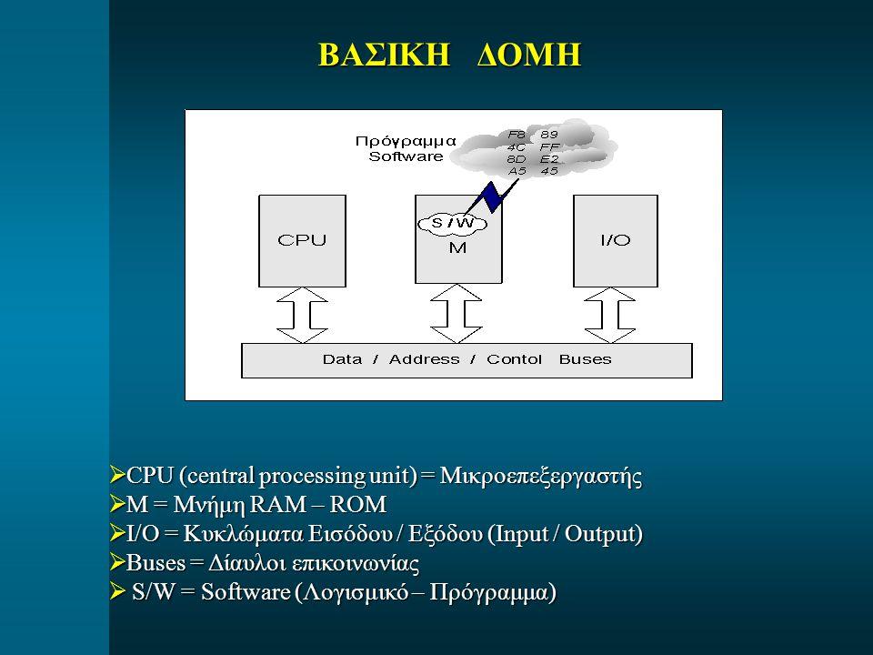 ΒΑΣΙΚΗ ΔΟΜΗ CPU (central processing unit) = Μικροεπεξεργαστής