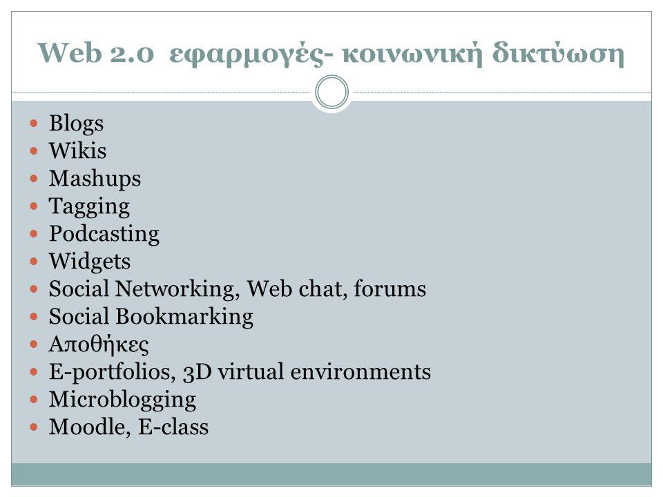 Web 2.0 εφαρμογές- κοινωνική δικτύωση