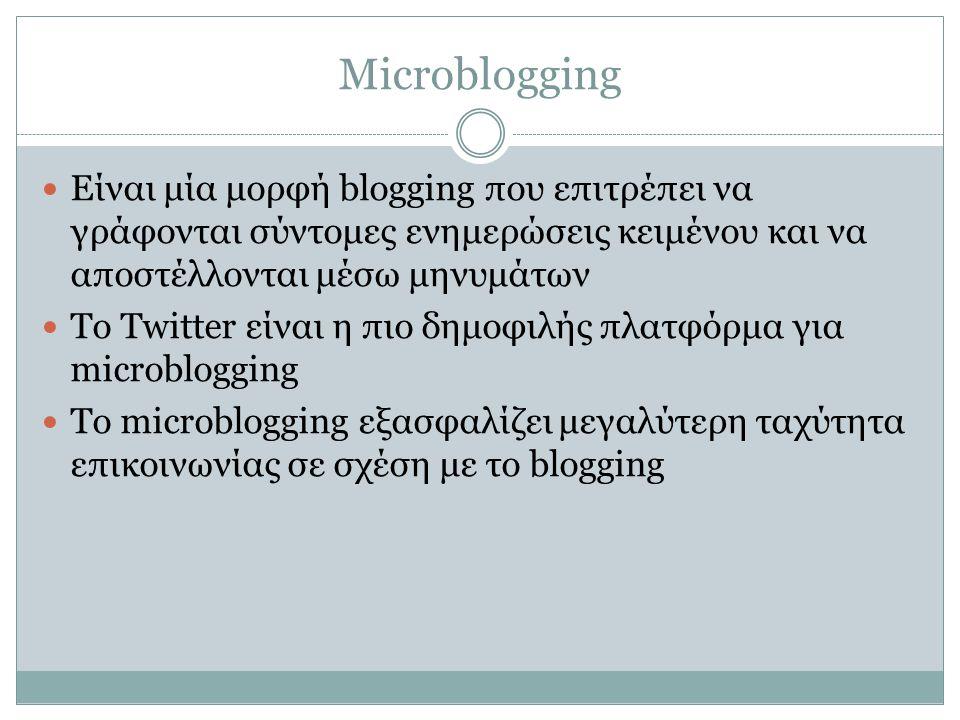 Microblogging Είναι μία μορφή blogging που επιτρέπει να γράφονται σύντομες ενημερώσεις κειμένου και να αποστέλλονται μέσω μηνυμάτων.