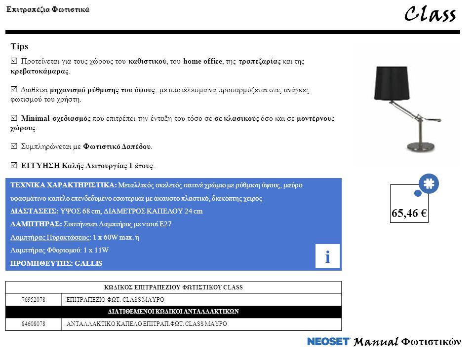 Class i 65,46 € Manual Φωτιστικών Tips Επιτραπέζια Φωτιστικά