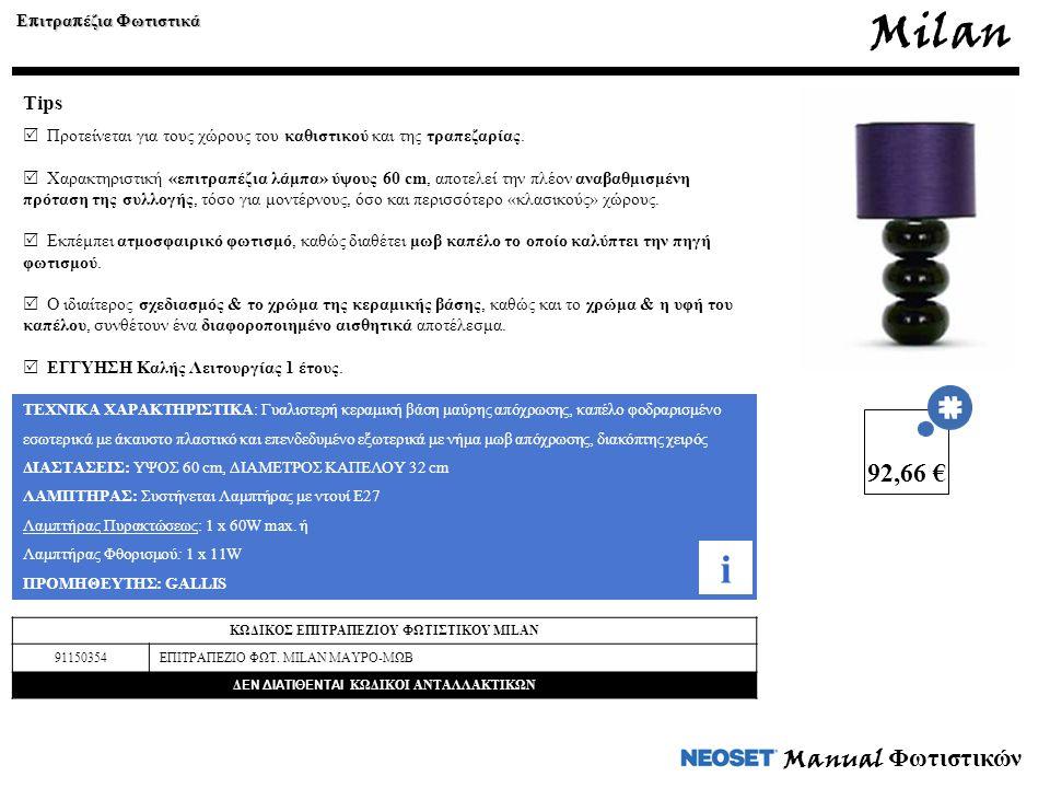Milan i 92,66 € Manual Φωτιστικών Tips Επιτραπέζια Φωτιστικά