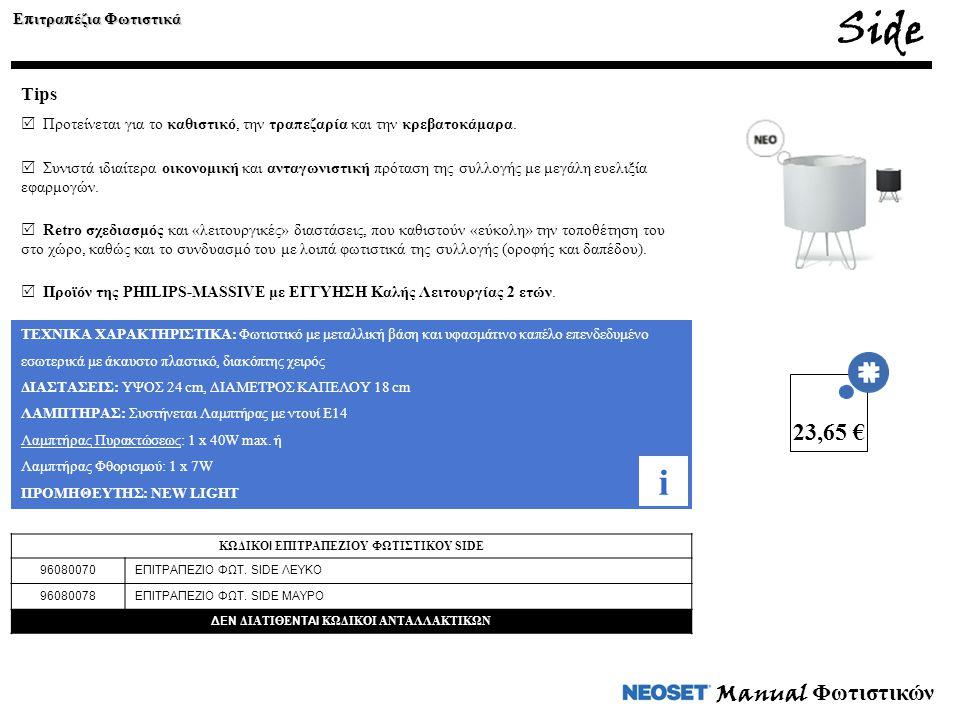 Side i 23,65 € Manual Φωτιστικών Tips Επιτραπέζια Φωτιστικά