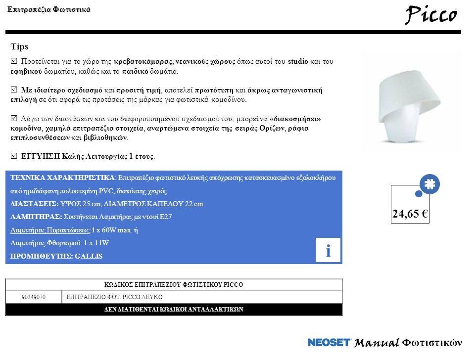 Picco i 24,65 € Manual Φωτιστικών Tips Επιτραπέζια Φωτιστικά