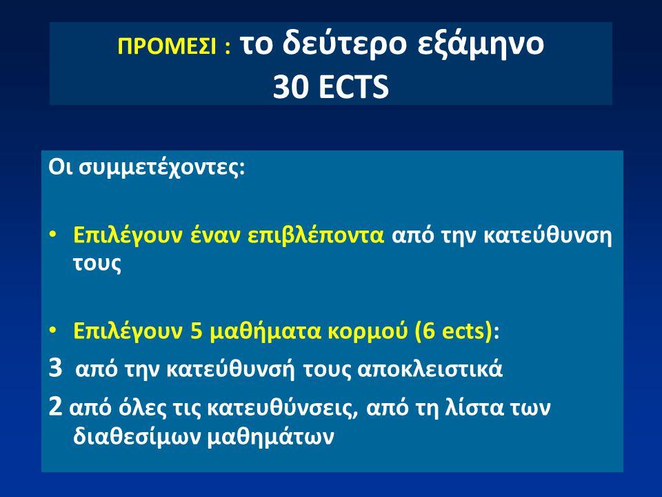 ΠΡΟΜΕΣΙ : το δεύτερο εξάμηνο 30 ECTS