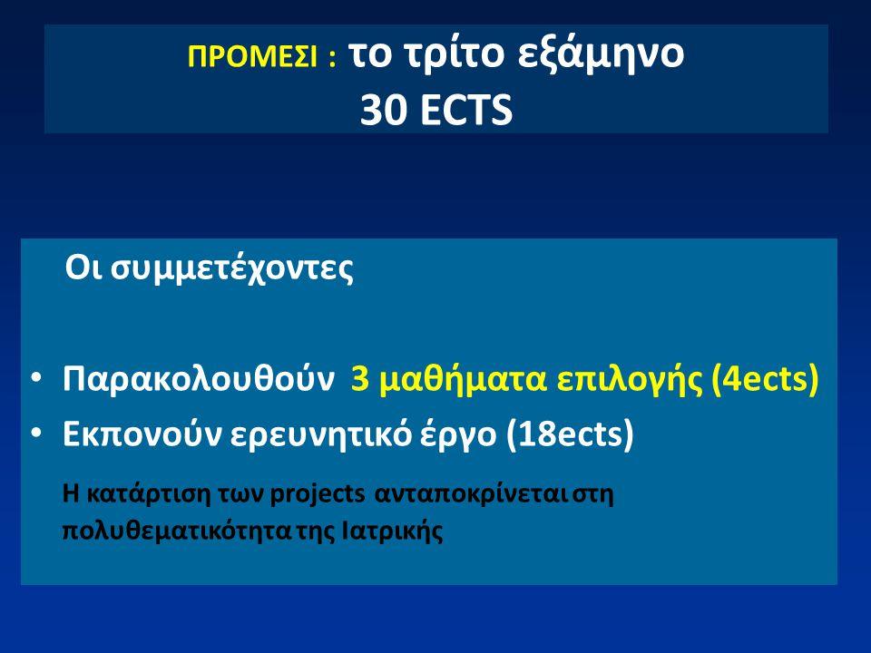 ΠΡΟΜΕΣΙ : το τρίτο εξάμηνο 30 ECTS