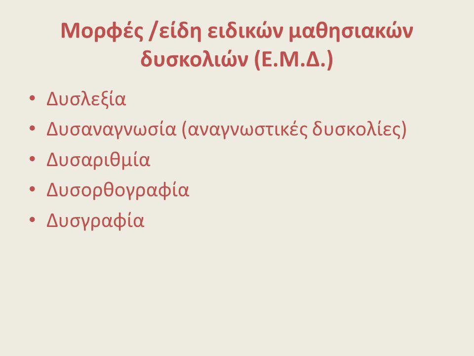 Μορφές /είδη ειδικών μαθησιακών δυσκολιών (Ε.Μ.Δ.)