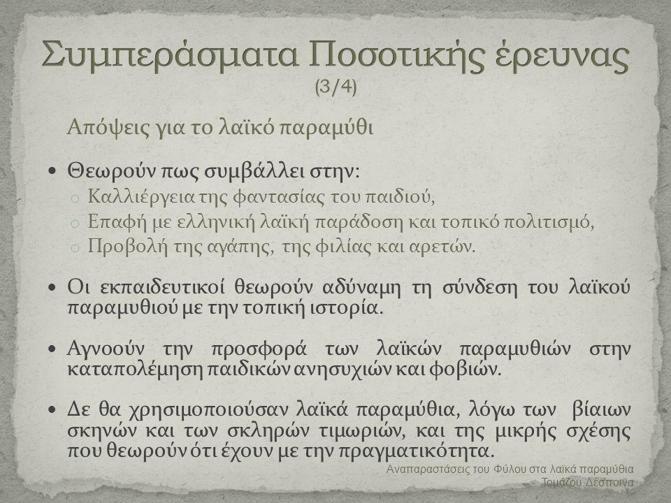 Συμπεράσματα Ποσοτικής έρευνας (3/4)