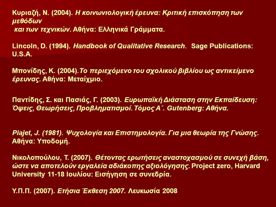 Κυριαζή, Ν. (2004). Η κοινωνιολογική έρευνα: Κριτική επισκόπηση των μεθόδων