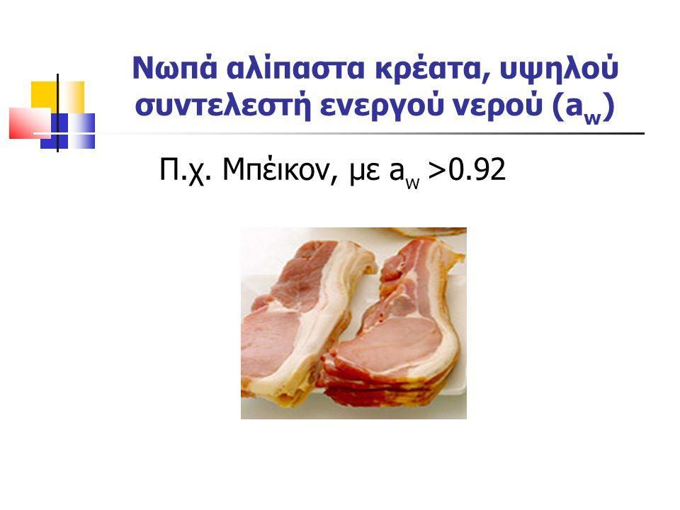 Νωπά αλίπαστα κρέατα, υψηλού συντελεστή ενεργού νερού (aw)