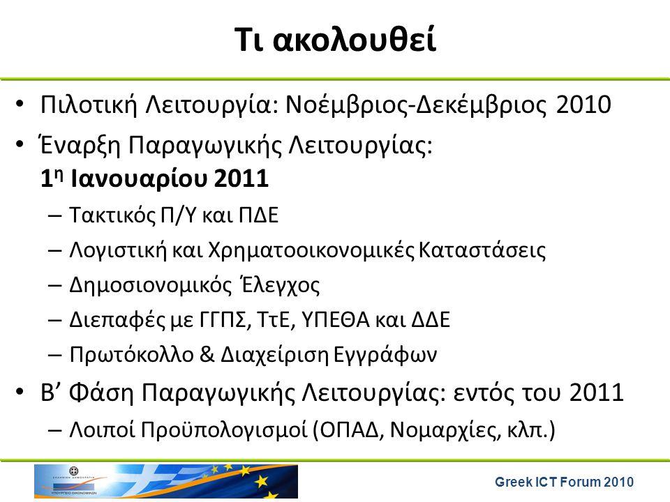 Τι ακολουθεί Πιλοτική Λειτουργία: Νοέμβριος-Δεκέμβριος 2010