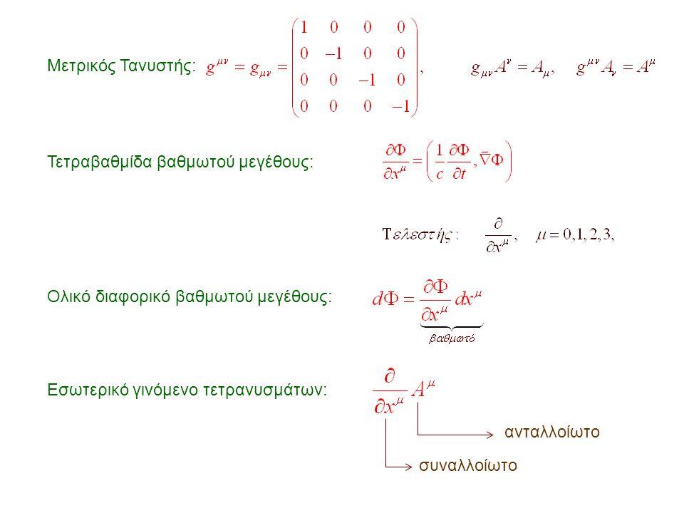 Μετρικός Τανυστής: Τετραβαθμίδα βαθμωτού μεγέθους: Ολικό διαφορικό βαθμωτού μεγέθους: Εσωτερικό γινόμενο τετρανυσμάτων: