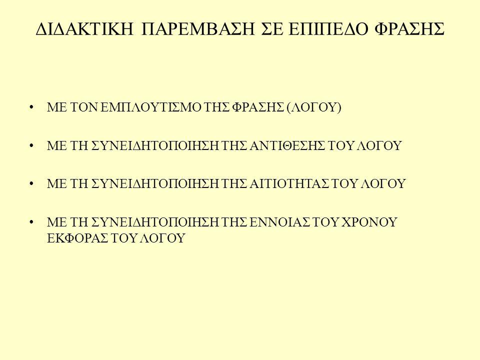 ΔΙΔΑΚΤΙΚΗ ΠΑΡΕΜΒΑΣΗ ΣΕ ΕΠΙΠΕΔΟ ΦΡΑΣΗΣ
