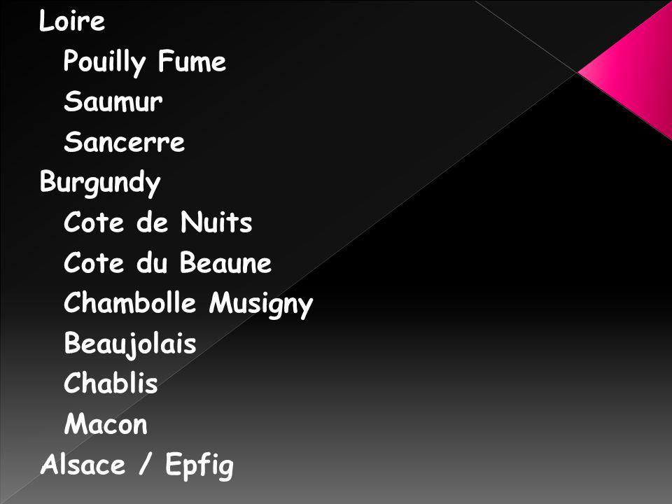 Loire Pouilly Fume. Saumur. Sancerre. Burgundy. Cote de Nuits. Cote du Beaune. Chambolle Musigny.