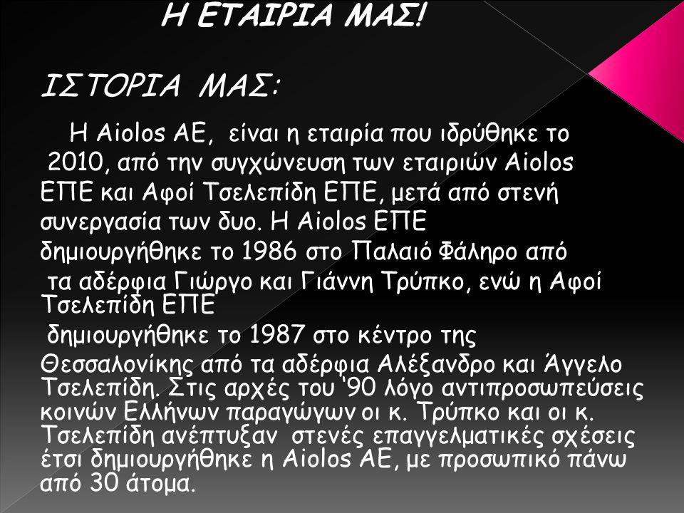 ΙΣΤΟΡΙΑ ΜΑΣ: Η Aiolos ΑΕ, είναι η εταιρία που ιδρύθηκε το