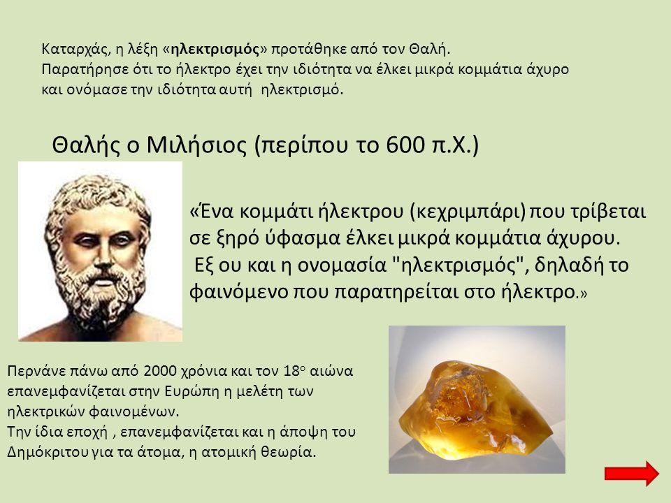 Θαλής ο Μιλήσιος (περίπου το 600 π.Χ.)