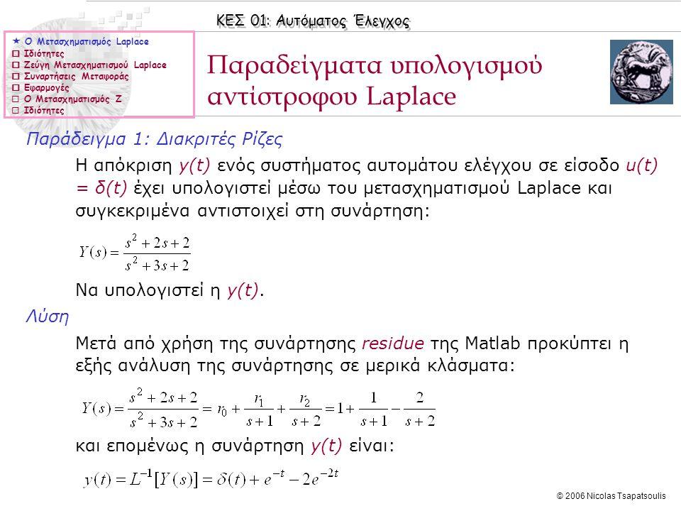 Παραδείγματα υπολογισμού αντίστροφου Laplace