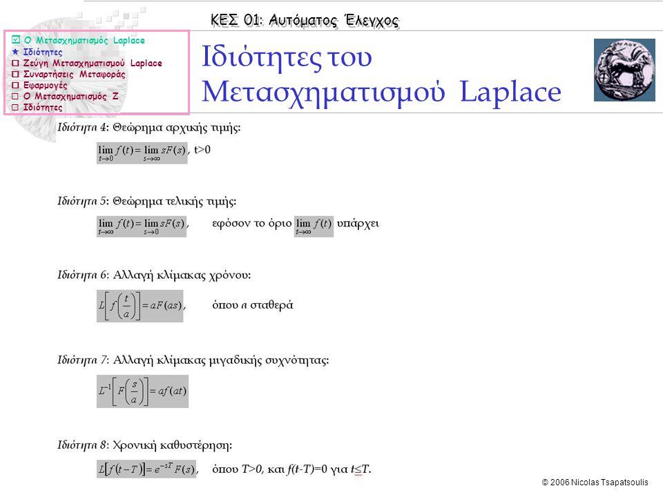 Ιδιότητες του Μετασχηματισμού Laplace