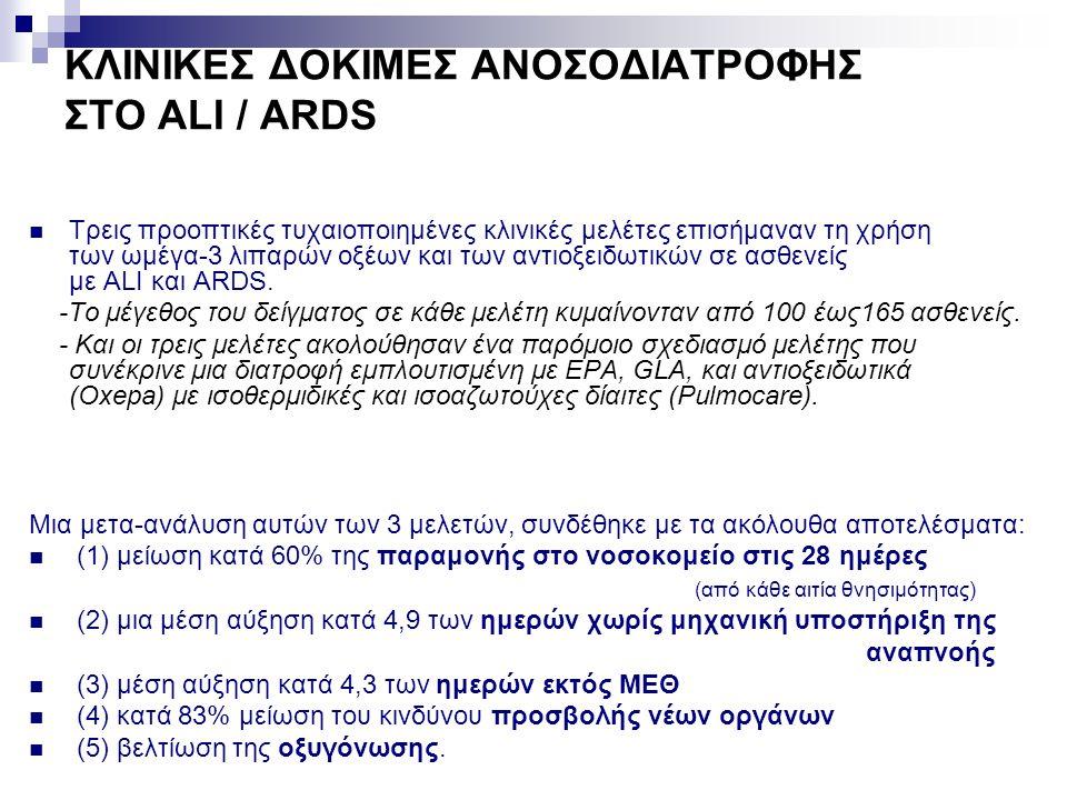 ΚΛΙΝΙΚΕΣ ΔΟΚΙΜΕΣ ΑΝΟΣΟΔΙΑΤΡΟΦΗΣ ΣΤΟ ALI / ARDS