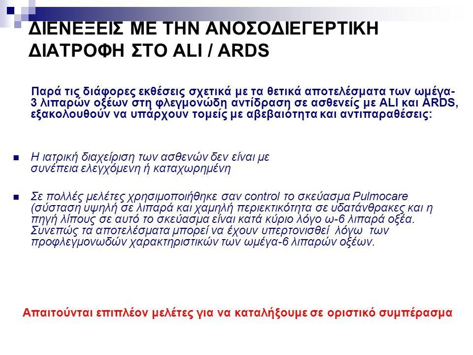 ΔΙΕΝΕΞΕΙΣ ΜΕ ΤΗΝ ΑΝΟΣΟΔΙΕΓΕΡΤΙΚΗ ΔΙΑΤΡΟΦΗ ΣΤΟ ALI / ARDS