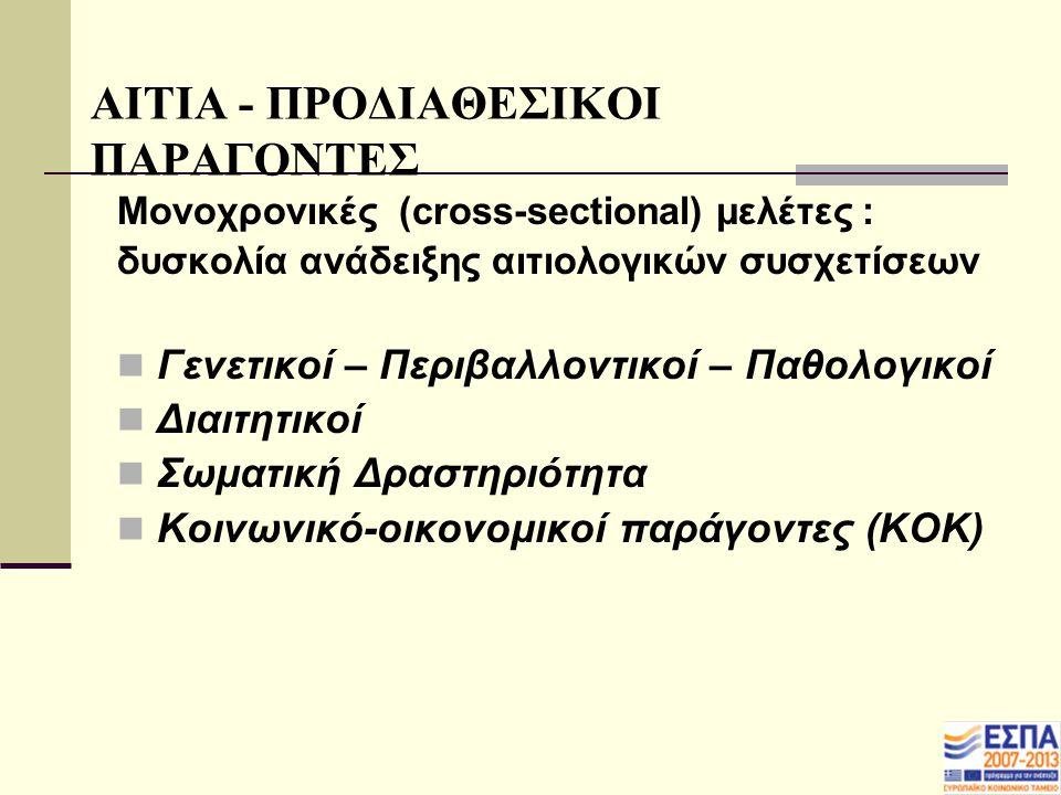 ΑΙΤΙΑ - ΠΡΟΔΙΑΘΕΣΙΚΟΙ ΠΑΡΑΓΟΝΤΕΣ