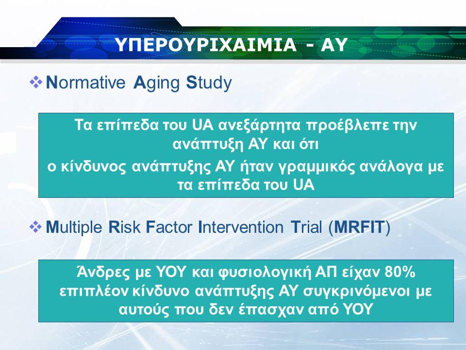 ΥΠΕΡΟΥΡΙΧΑΙΜΙΑ - ΑΥ Normative Aging Study