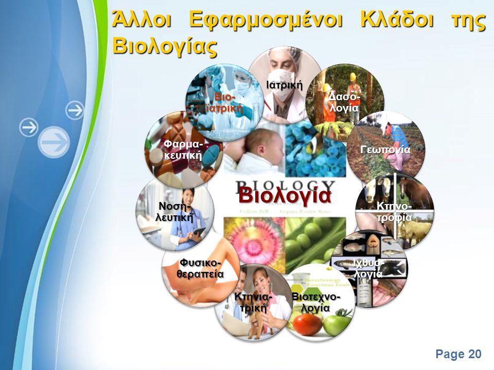 Άλλοι Εφαρμοσμένοι Κλάδοι της Βιολογίας Βιολογία
