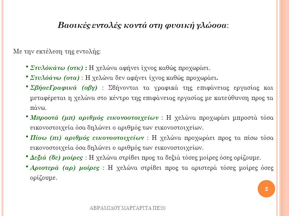 Βασικές εντολές κοντά στη φυσική γλώσσα: