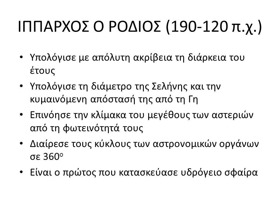 ΙΠΠΑΡΧΟΣ Ο ΡΟΔΙΟΣ (190-120 π.χ.)